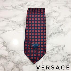 Versace Navy Blue Red Floral Medusa Skinny Tie EUC